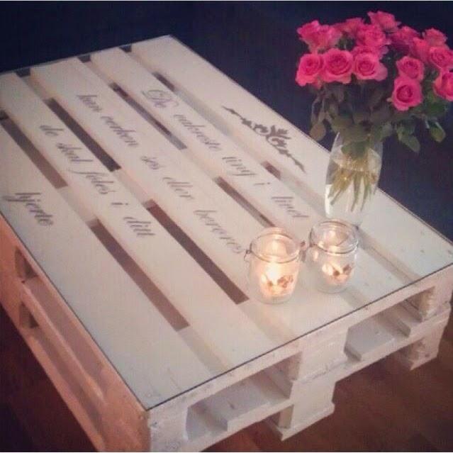 C mo hacer una mesa con palets decorada con tus frases - Que hacer con los palets ...