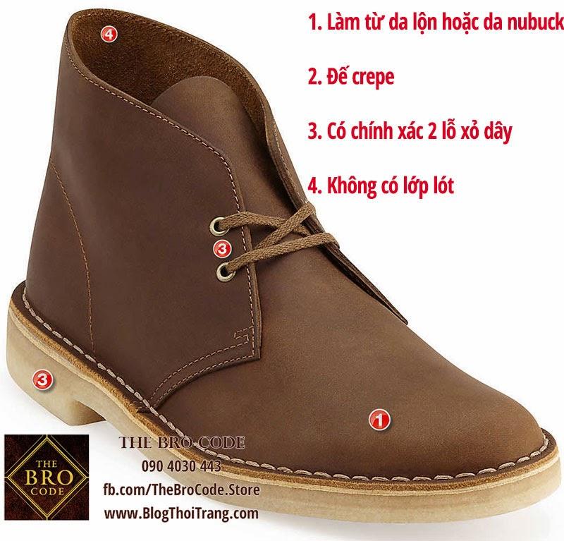 Đặc điểm của một đôi Clarks Original Desert Boot (trong hình là bản Beeswax)