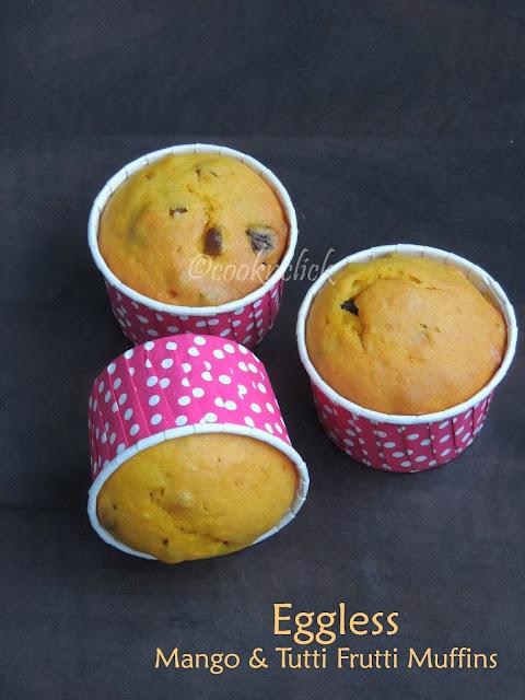 Eggless Mango Muffins, Tutti Frutti Mango Muffins