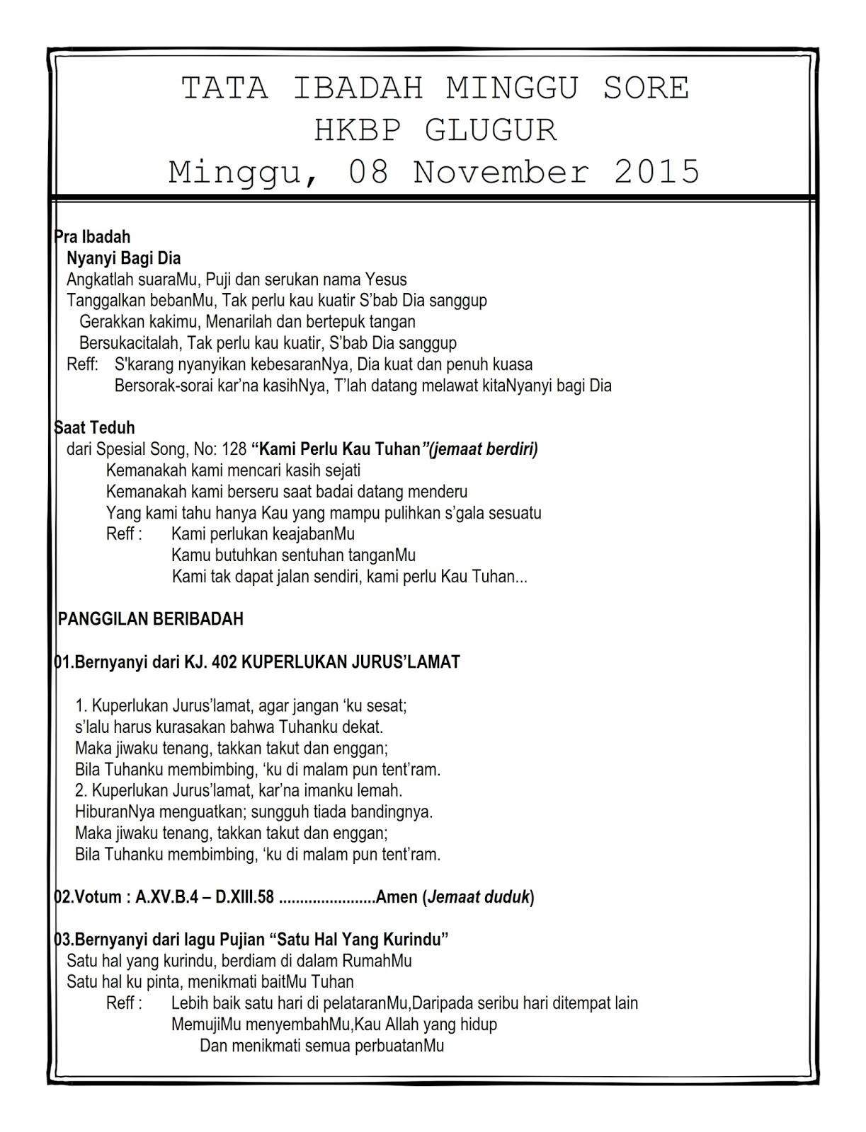 Tata ibadah minggu sore 08 november 2015 hkbp glugur ressort medan