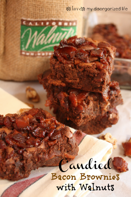 Candied Bacon Brownies/ {i love} my disorganized life #BrunchWeek #bacon #brownies