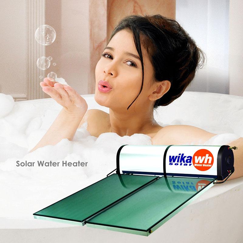 Wanita Sedang Mandi Air Hangat Wika Solar Water Heater