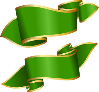 金の縁取りをした緑色のバナー Ribbon banner decoration vector イラスト素材