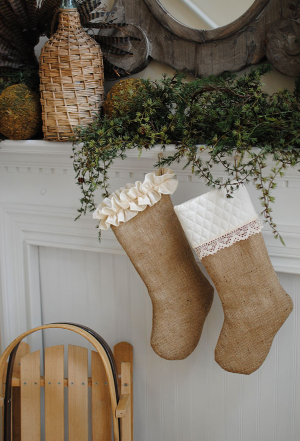 Wedding wednesday burlap through the front door for Burlap christmas curtains