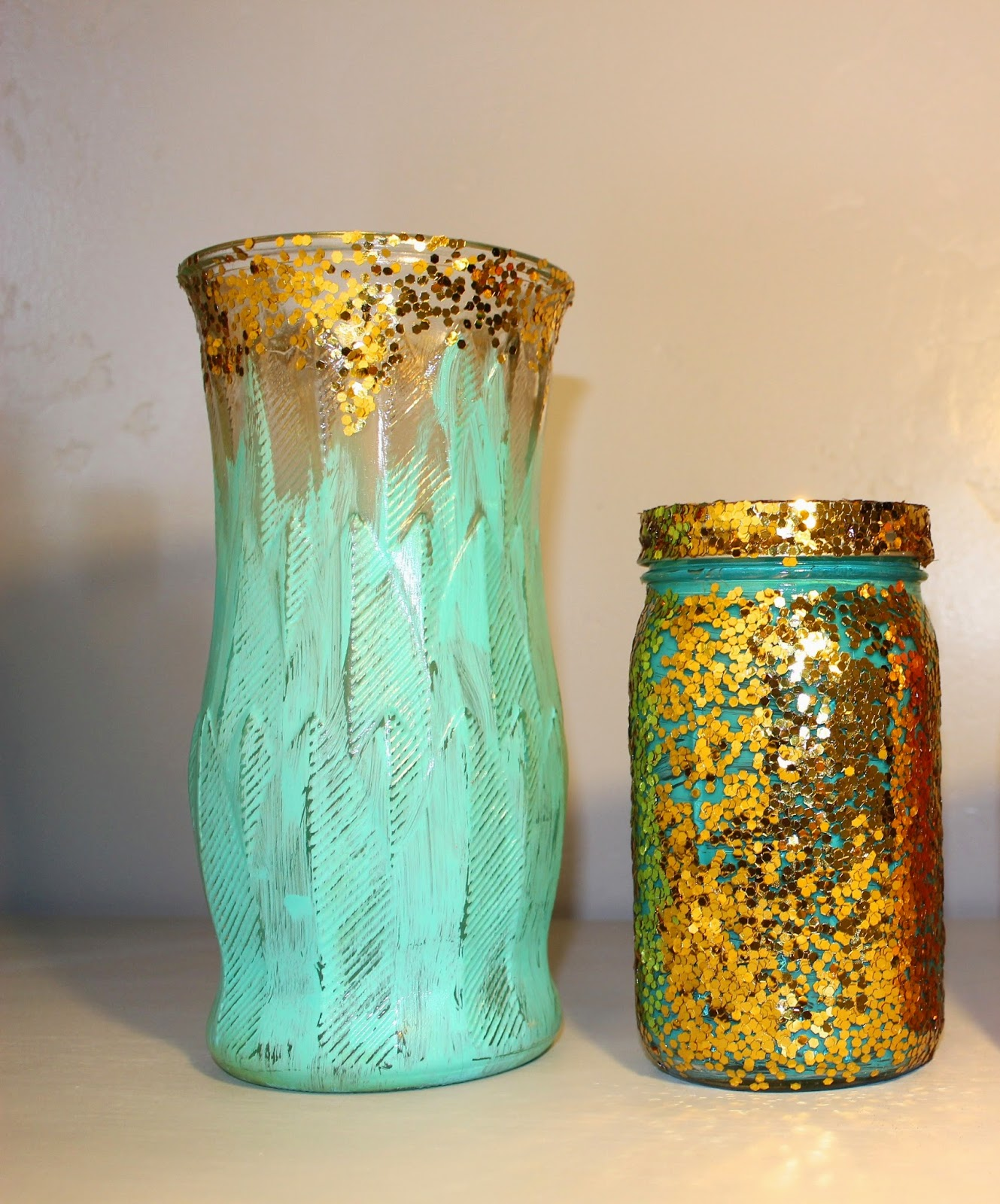 glitter and turquoise vase, large glitter vase, large handpainted vase, handpainted turquoise vase, distressed turquoise vase, glitter ombre vase, glitter vase, gold and turquoise vase, gold glitter vase, glitter mason jar, gold glitter mason jar, decorative mason jar, blue and glitter mason jar, handpainted mason jar, sparkly mason jar, wedding glitter decor, glitter decor, gold decor