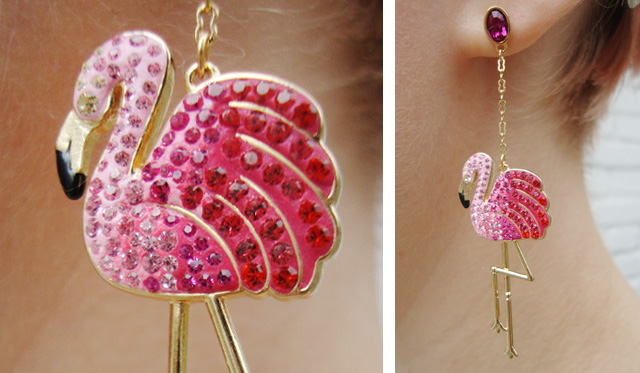 swarovski, flamingo earrings, pink flamingo