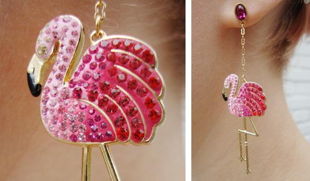 Swarovski Flamingo Earrings Pink