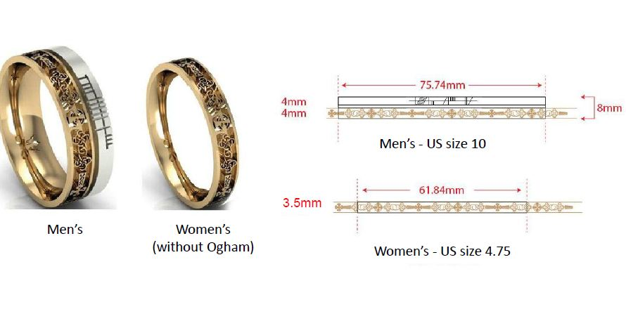 ogham celtic ring rings band wedding gaelic