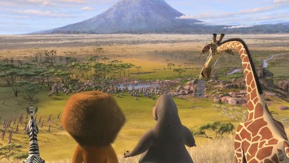 The African plain in Madagascar 2: Escape 2 Africa http://animatedfilmreviews.blogspot.com/2012/12/madagascar-escape-2-africa-2008-full-of.html