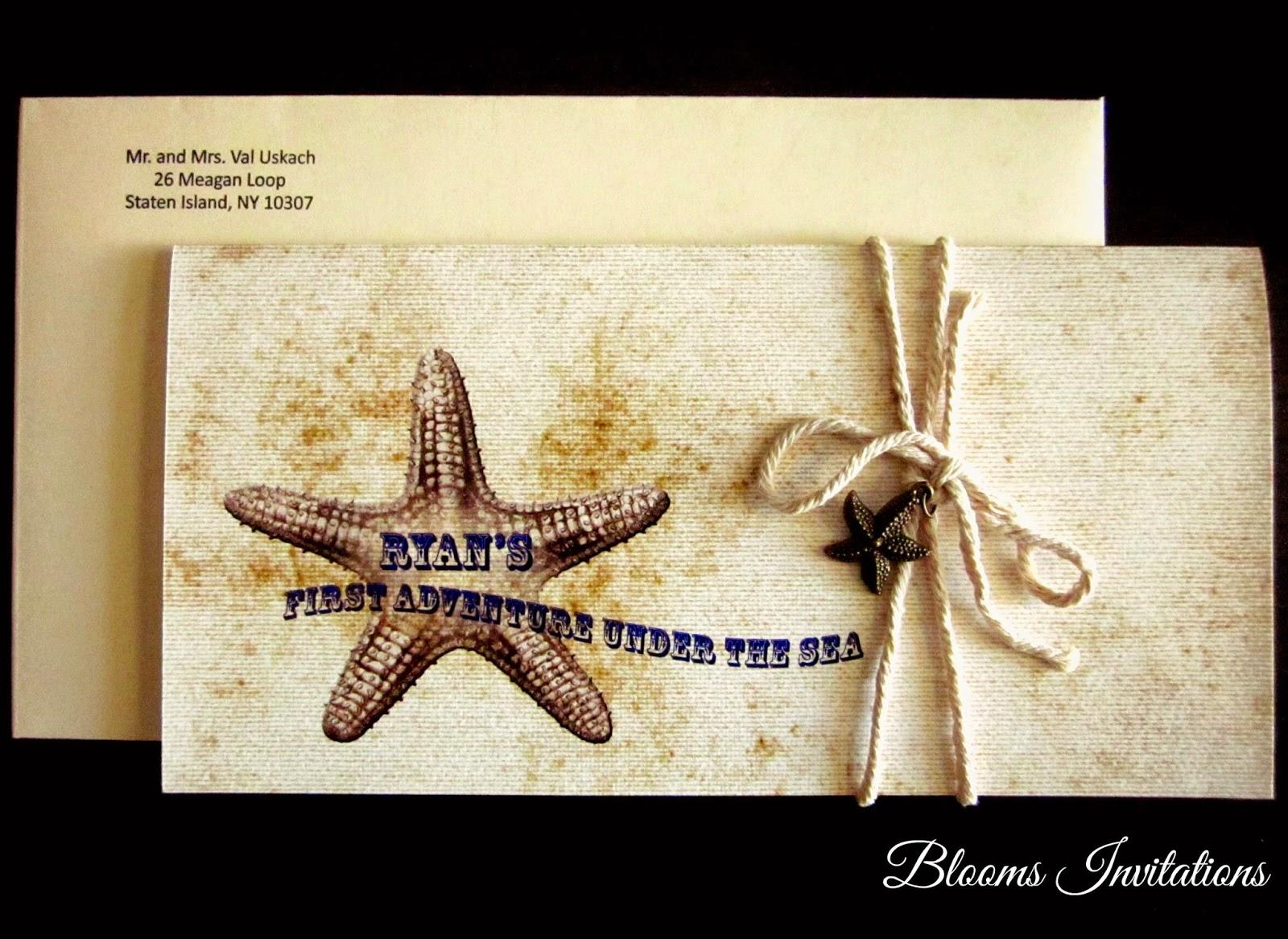 Under The Sea Vintage First Birthday Invitation