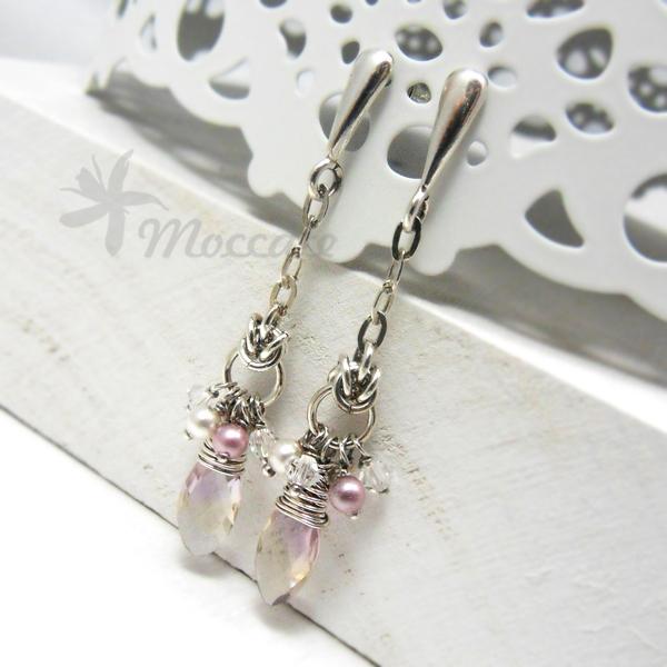 Delikatne kolczyki z perłami i kryształami