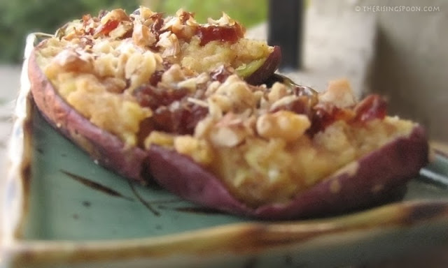 Twice-Baked Japanese Sweet Potatoes with Chopped Walnuts & Dates
