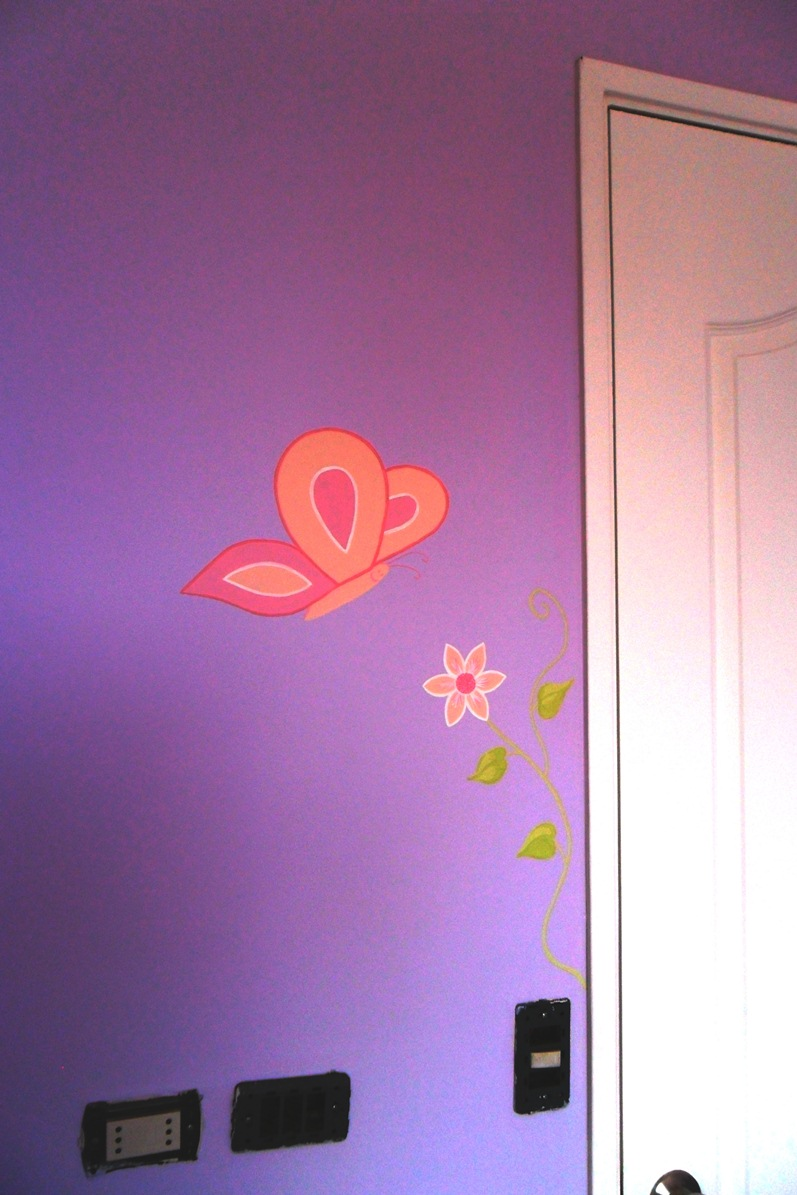 Murales infantiles mural infantil mariposas for Mural de flores y mariposas