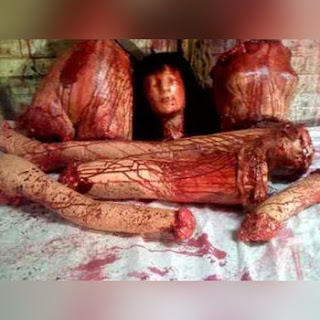 Mujer cortada en pedazos