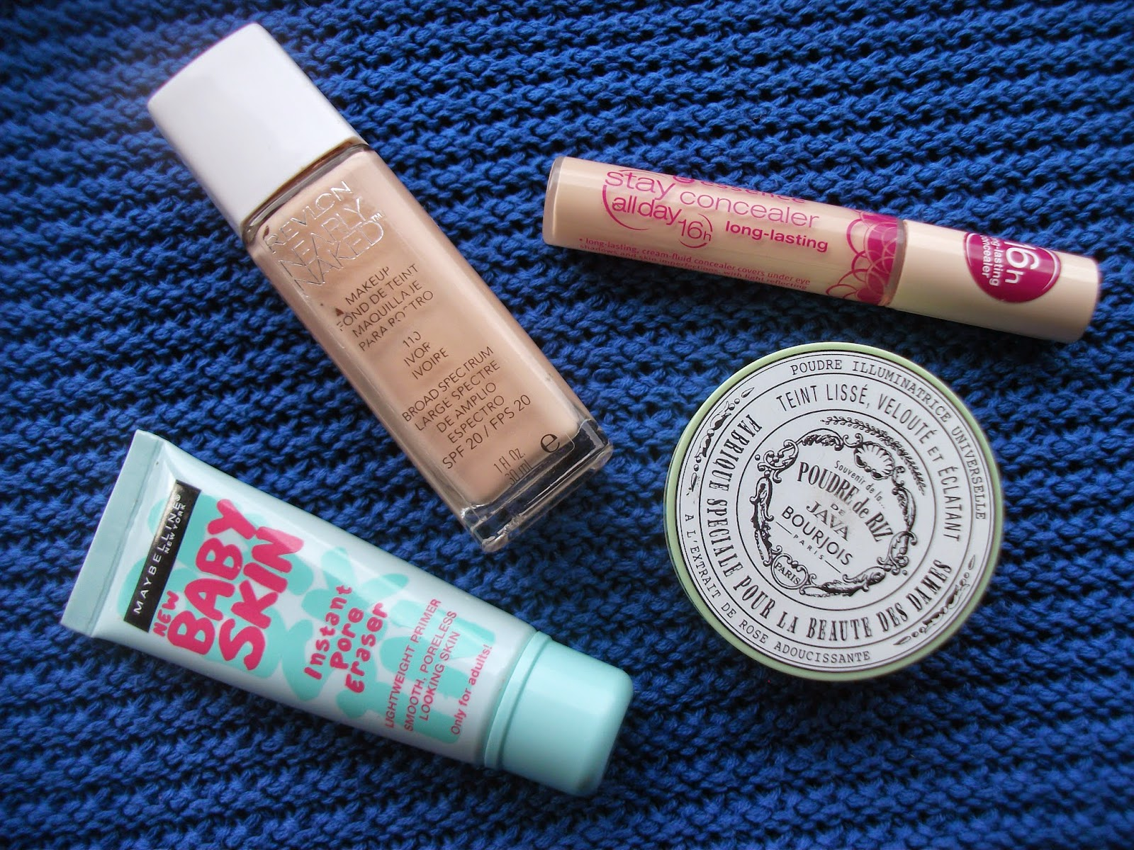 MAYBELLINE BABYSKIN PRIMER, REVLON NEARLY NAKED FOUNDATION, BOURJOIS POWDER, ESSENCE