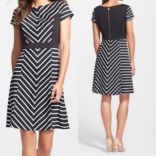 Ellen Tracy Stripe Fit & Flare Dress