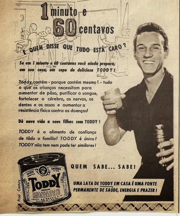 Anúncio do Toddy nos anos 60 que apresentava a praticidade e baixo custo do produto além de diversos benefícios à saúde.