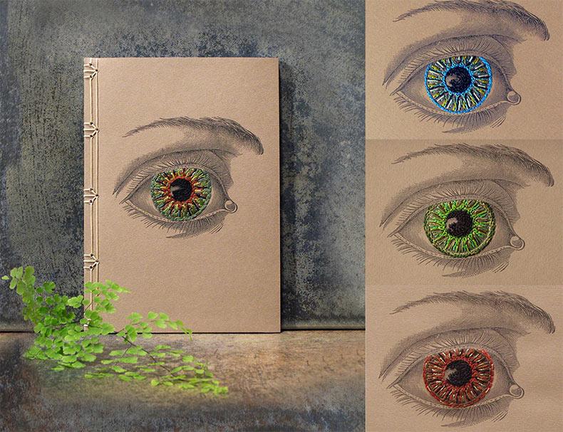 Cuadernos destacan ilustraciones de ciencia vintage fusionada con bordado hecho a mano