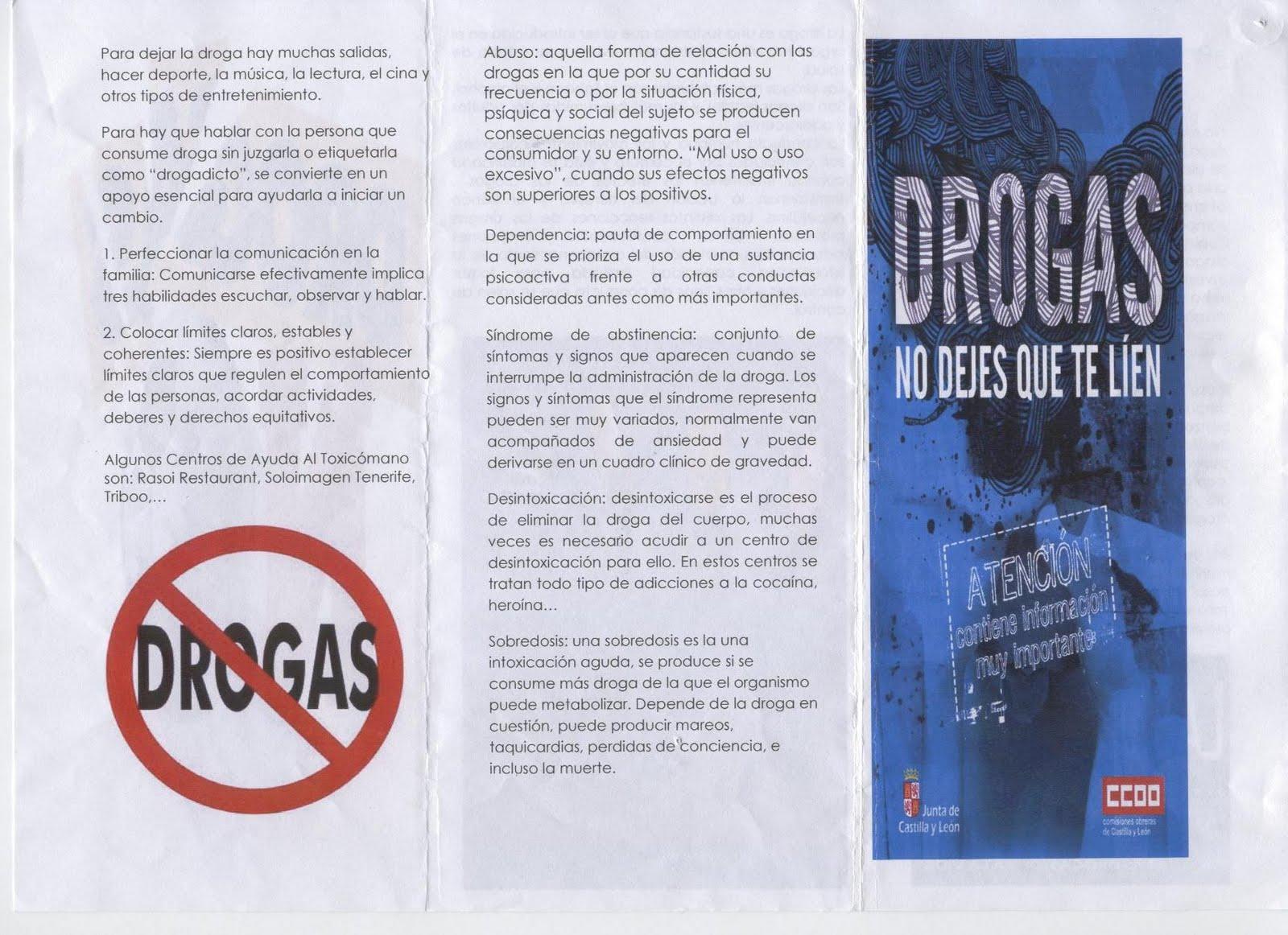 LAS DROGAS: DÍPTICOS ELABORADOS POR NUESTROS ALUMNOS 2010-2011