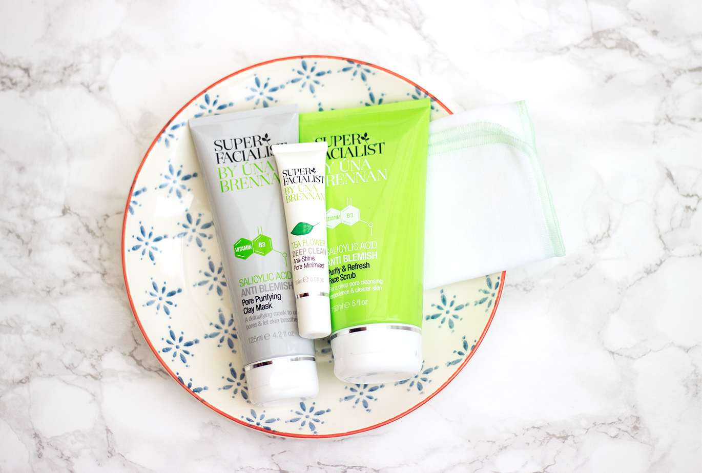 Skincare on a budget: Una Brennan Super Facialist Salicylic Acid Pore Purifying Mask, Purify & Refresh Face Scrub and Tea Flower Anti Shine Pore Minimiser