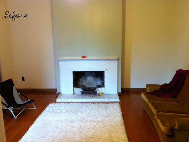 How to style a mantel/fireplace - BEFORE pic - by Amy MacLeod
