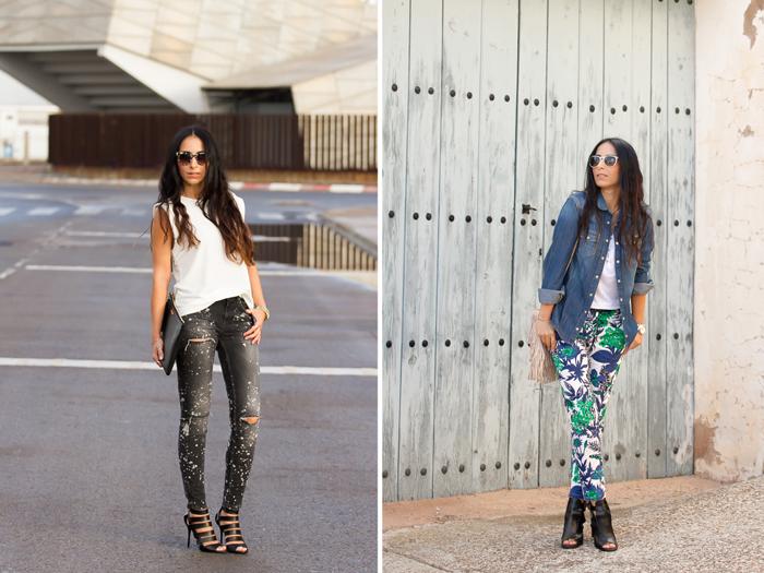 Looks estilo chic con jeans rotos manchados con pintura y sandalias Jimmy Choo