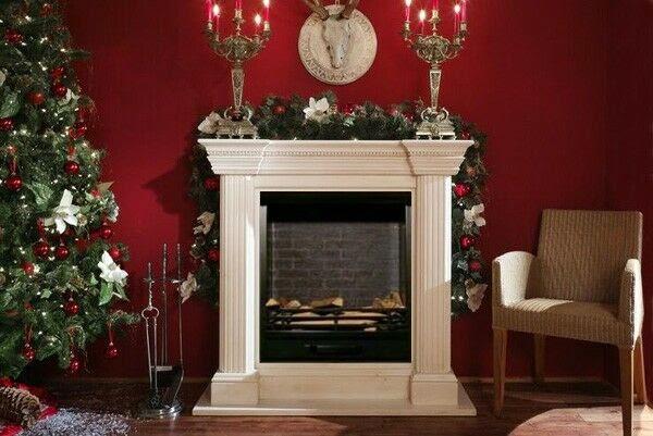 imagenes de chimeneas decoradas de navidad