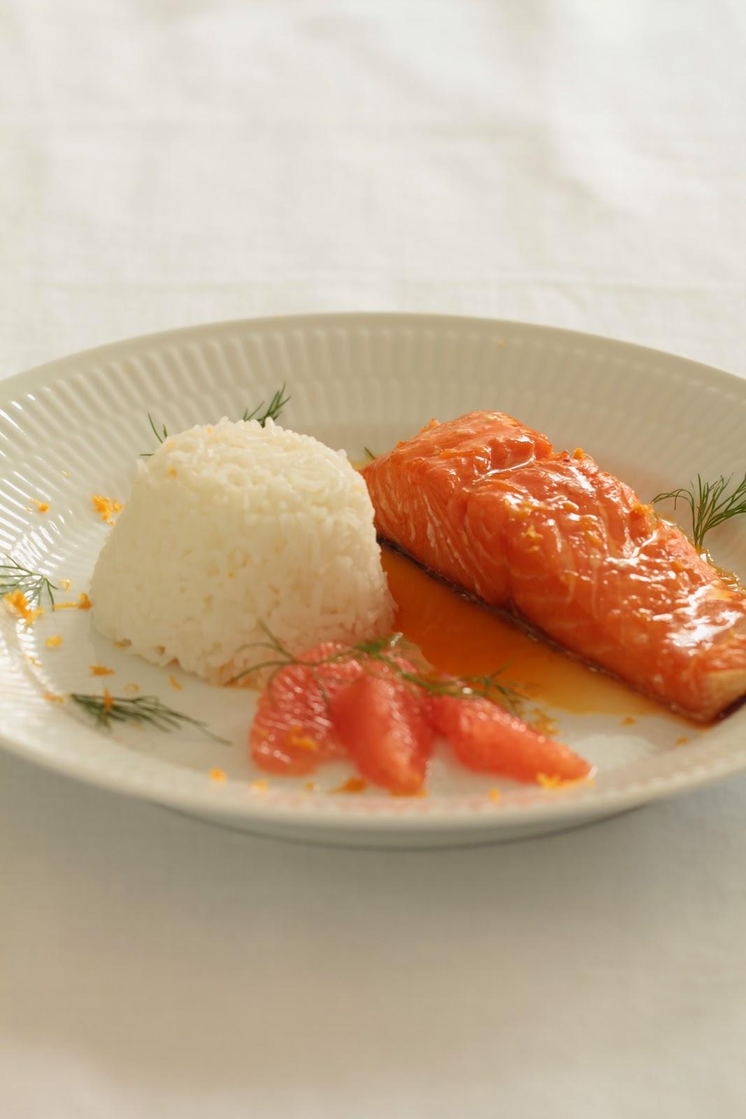 pavé saumon , sirop érable , agrumes , noel