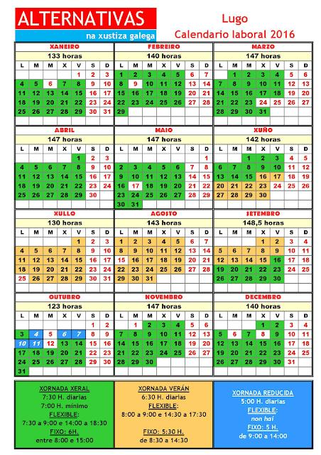 Lugo. Calendario laboral 2016