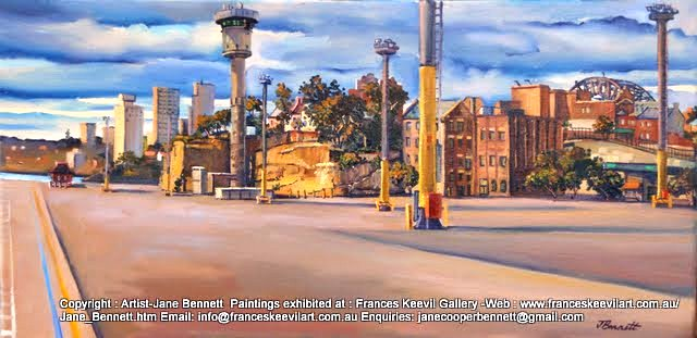 plein air oil painting of wharf buildings and Sydney Harbour Control Tower at the Hungry Mile, now Barangaroo by artist Jane Bennett