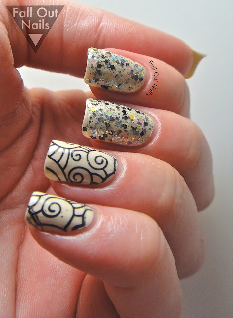 stamping striping glitter nail art 7