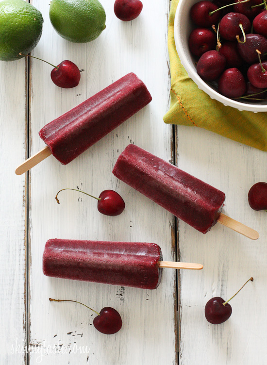 Cherry Lime Ice Pops | Skinnytaste