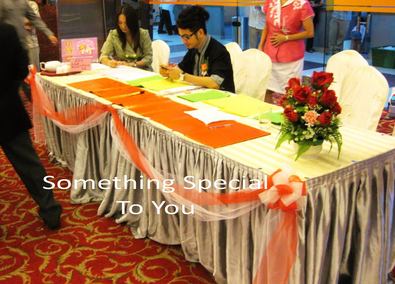 Something special to you malaysia wedding one stop shop mei ting simple reception table photo album table vip table decor vip chair flower stand around vip table cake table decor funky balloon decor on the stage junglespirit Image collections