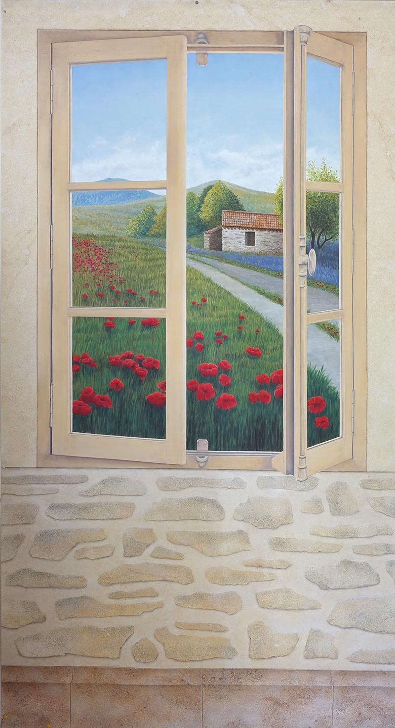 Peinture decorative en trompe l 39 oeil fresque murale - Trompe l oeil mural exterieur ...