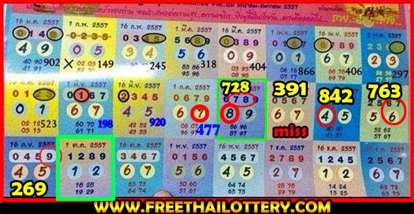 Thai lottery Yearly Touch Tip Paper 01-10-2014