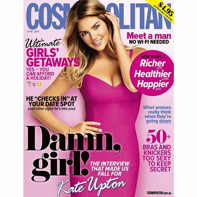 Kate Upton showing off her more conservative style than usual on the grace cover of Cosmopolitan Australia magazine's for June‭ ‬2014 edition