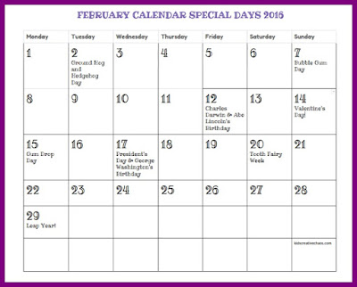 Free Printable February Calendar Holidays