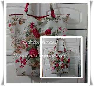 Bolso rectangular con flores loneta. Entrecosturas. Accesorios artesanales.