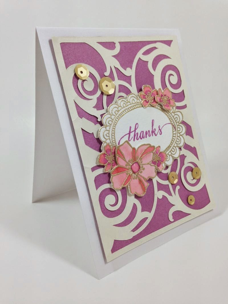Cricut Watercolor Flower Card side view