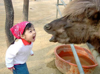 Funny expression of baby girl and pet