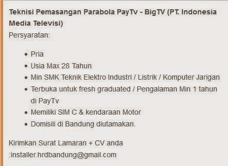 lowongan kerja pt indonesia media televisi september 2014 di bandung