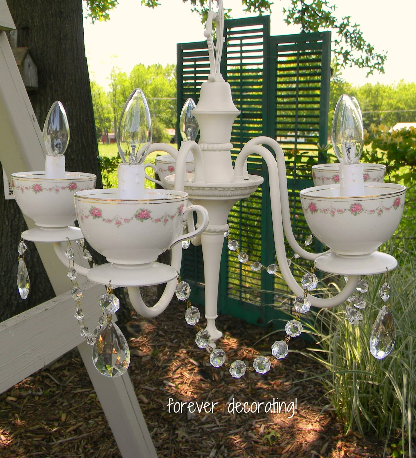 Ready For Another Teacup Chandelier This Time I Made It From A Vintage 5 Arm Think Turned Out Romantic And Charming Don T You