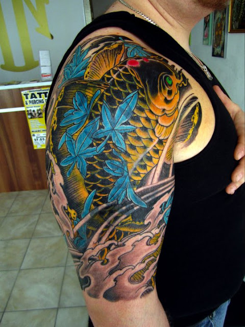 Lion city tattoo japanese koi tattoo cover up for Koi fish cover up