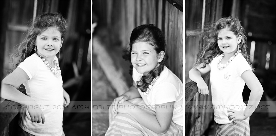 black and white photos of girl in barn - Terre Haute photographer