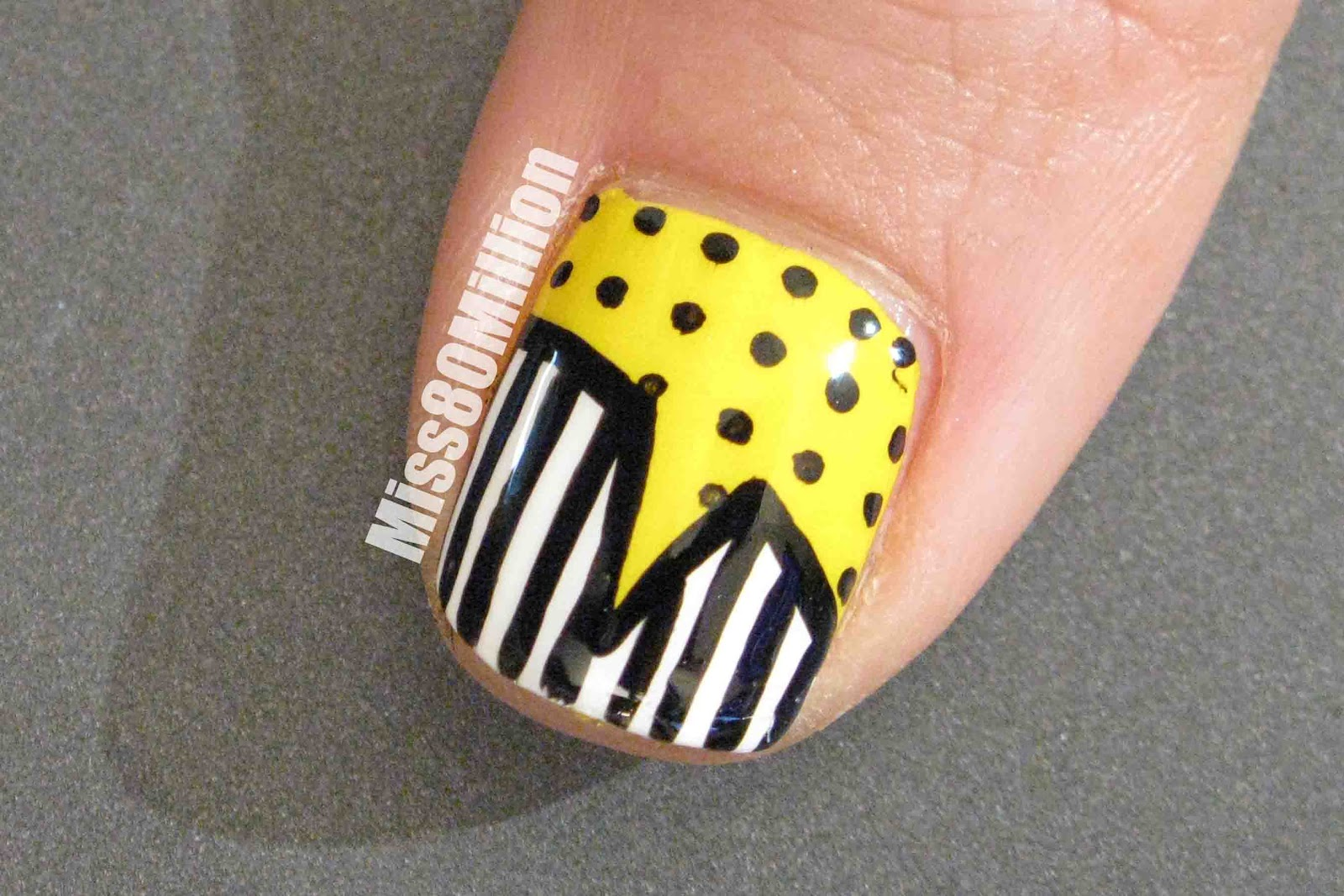 Miss80Million: Graphic black & Yellow Print - Free Hand Nail Art ...
