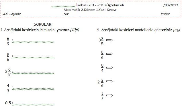 4 Sinif Matematik 2 Dönem 1 Yazılı Sınav Soruları Matematik Tr