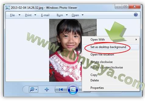 Gambar: Membuat photo yang di preview menjadi wallpaper windows