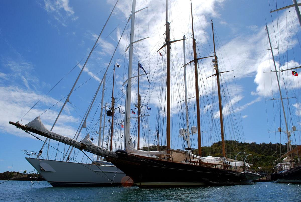 Classic mega yachts at Nelson Dockyard Antigua