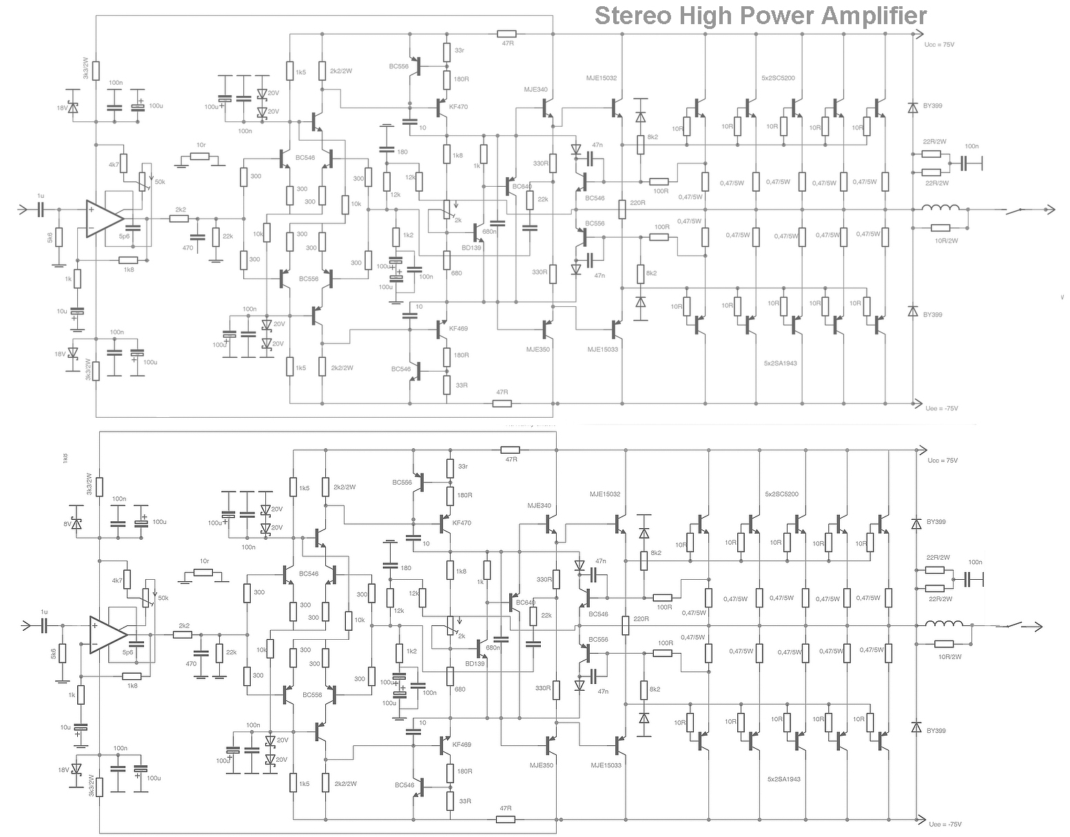 stereo high power audio amplifier