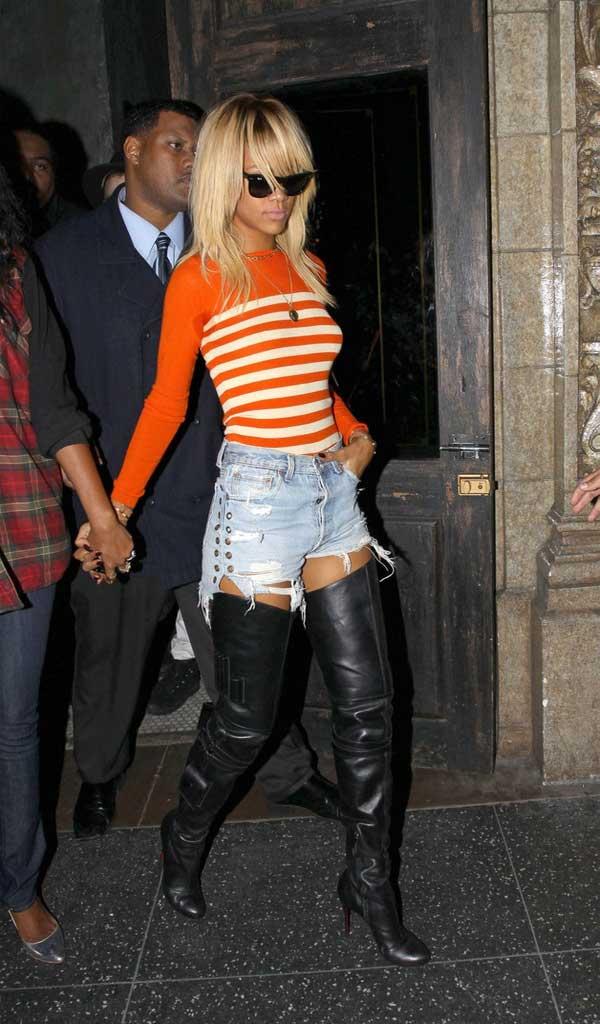 rihanna jean shorts style